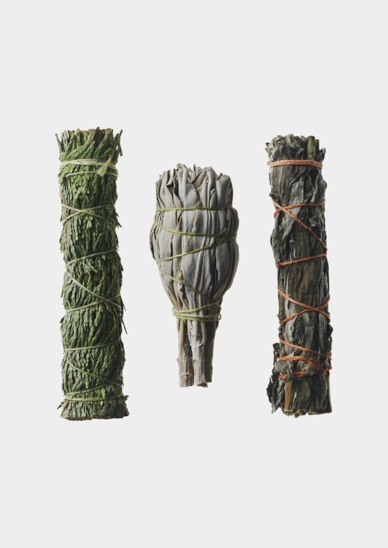 Here's a great set of three: Sage, Mugwort and Cedar.